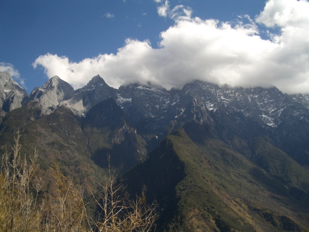 The view from the mountain trails of Tiger Leaping Gorge. The air is thin up here.