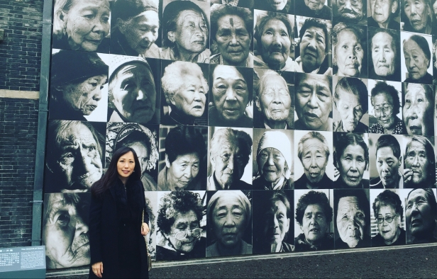 Sylvia Yu Friedman at the entrance of the Comfort Women museum in Nanjing on the official opening day 2015-12-01